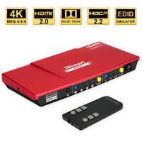 TESmart  4 Port HDMI Switch Switcher Support 4 input 1 output 4K@60Hz HDCP2.2