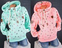 Damen Kapuzenpullover Sweatshirt warmer Fleece Pulli Hoodie S M L XL 2XL 3XL K03