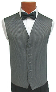 2010 for Formal Occasions Men/'s Horizontal Striped Black Polyester Vest with Pre-Tied Bowtie