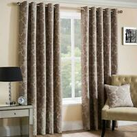 Beige Eyelet Curtains Lined Chenille Park Lane Damask Ring Top Curtain Pairs