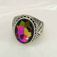 Vintage jewelry 316L Stainless Steel Vogue Design Mini Stone Ring AB USA Size 8