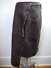 NEW HENRY BEGUELIN dark brown leather and shearling fur skirt Italian size 42