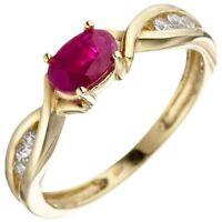 Ring Damenring Rubinring roter Rubin in Olivenform Zirkonia 333 Gelbgold