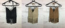 LADIES REAL LEATHER SUEDE HALTERNECK TASSEL SEXY PARTY TOP BLACK TAN STONE SIZE