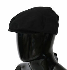 DOLCE & GABBANA Hat Black 100% Cotton Newsboy Cap Men Capello s. 57 / M