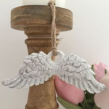 VINTAGE SHABBY CHIC WHITE ANGEL WINGS HANGING DECORATION GOOD LUCK SYMPATHY GIFT