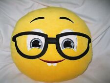"12"" Black Glasses and Gray Eyes Emoji Round Soft Emoticon Stuffed Plush Pillow"