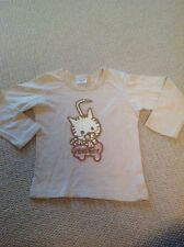 Tammy Little Girls Long Sleeved Top, Sequin Cat Motif, 140 Cms Approx 8 Years