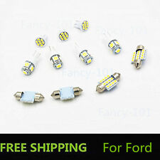 11PCS White LED Lights Interior for T10 & 31mm Map Dome + License Plate For Ford