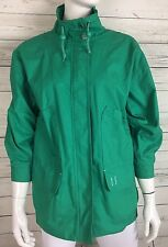 London Fog Green Light Weight Cotton Jacket Women's Sz Small 3/4 Sleeves Preppy