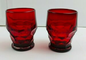 """Two Vintage RUBY RED Georgian HONEYCOMB 4.25"""" Drinking GLASSES"""