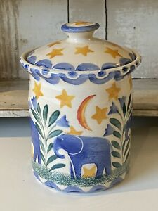 Bell Pottery Spongeware Storage Jar / Lidded Pot