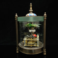 Antique collection Exquisite Brass Glass Outer shell Mechanical Clock  ZZ004