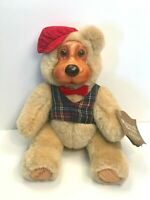 """RAIKES BEARS 12"""" BEAR PLUSH BEIGE COLOR JOINTED VINTAGE RED HAT TAG EUC"""