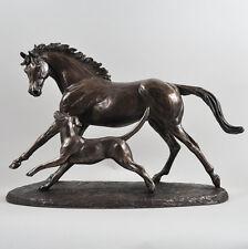 Horse & Hound Cold Cast Bronze Sculpture Hunting Farm Harriet Glen H29cm 01683