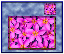 6PCS Pink Frangipani Flower Dining Table Placemats Vinyl+Coasters Decor-TM003PK