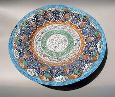 Persian Mina Kari Painted Handmade Fine Art Copper Enamel Plate Wall Hanging