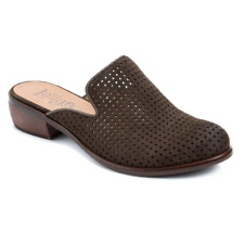 New LATIGO Dark Olive ILKA 2 Perforated Mules 7 M $100 NIB