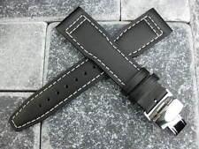 New Black Calf Leather Strap Watch Band Buckle SET IWC TOP GUN PILOT 20mm