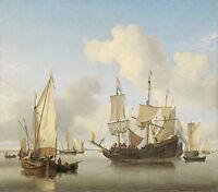 Ships at Anchor on the Coast by Willem van de Velde 100cm x 88cm Art Print