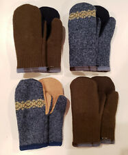 Men's or Women's Handmade Recycled Wool Sweater Fleece Lined Mittens Large XL