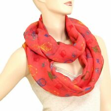 Coral Multi-Color Owl Print Infinity Scarf Lightweight Sheer