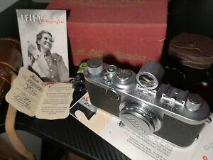 Leica IC + Leitz Elmar 3,5/50 + Sucher + Tasche + Originale Karton