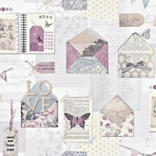 Vintage Shabby Chic Postcard Letter Floral Wallpaper Lilac Arthouse 671201