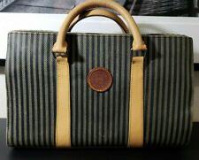 FENDI Pequin Stripe Hand Bag Brown Black PVC Leather Vintage Authentic Fendi