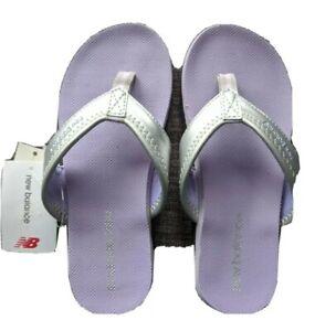 NWT * NEW BALANCE Girls Size 3 SANDALS * Thong Flip Flops * Silver Violet Purple