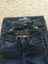 Almost Famous Wax Jean Stretch Jeans Size 1 lot of 2 Preowned Free Shipping