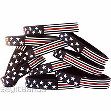 10 Thin Red Line American Flag Wristband Bracelets - Usa Flag Fire Fighter Bands