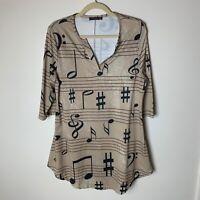 Azalea by Firmiana Women's Tunic Top Size XL 3/4 Sleeves Music Notes Tan Black