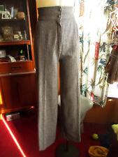 23x31 True Vtg 70s High Waist Bellbottom Gray Herringbone Acrylc Knit Pants Jean