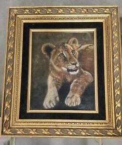 PASTEL PAINTING WILDLIFE  LION CUB JUDITH SMITH WILSON ART 1975 FRAMED