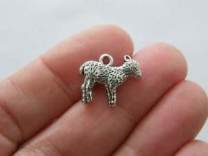 10 Lamb sheep charms antique silver tone A253