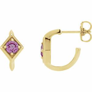 Pink Sapphire Geometric J-Hoop Earrings In 14K Yellow Gold