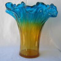 Genuine Italian Art Deco Glass Vase Gold Blue Tammaro Italy Murano No 415