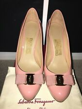 Salvatore Ferragamo Pimpa Blush Patent Leather Bow Pumps Heel EU38.5 US8.5 UK5.5