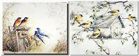 Bluebird House Bird And Gold Finches Wild Bird Two Set 8x10 Wall Decor Art Print