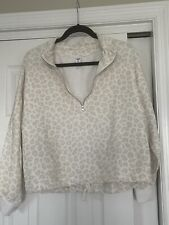 Old Navy 1/2 Zip Snow Leopard Print Cropped Sweatshirt Women's Sz M Cinched-Hem