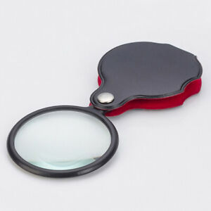 55mm Leather Case Magnifier Reading 6X Mini Folding Pocket Loupe Glass Loop