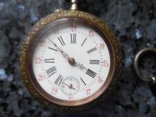 belle montre a remontoir + chaine en argent nielé