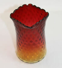 Antique Amberina Art Glass Spooner or Vase