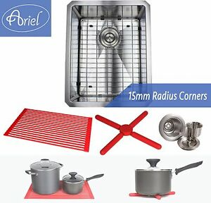 "Ariel 16"" 15mm Radius Square Stainless Steel Kitchen / Island Bar Sink Combo"