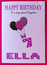 PERSONALISED 7th Birthday Card, Baby GIRL Balloons, SEVENTH Birthday Card Age 7