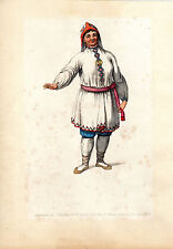 TRADITIONAL RUSSIAN COSTUMES - CHERRMKISIAN - HAND-COLOURED COPPERPLATE (1803)