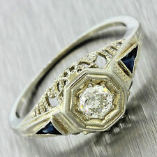 1920s Art Deco 18k White Gold .20ct Diamond Sapphire Filigree Engagement Ring