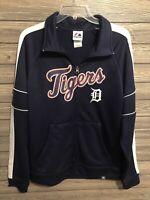 Men's size Medium Detroit Tigers MLB Baseball full zip Up track jacket navy blue