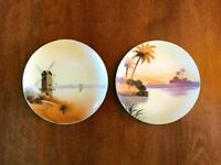 Set of 2 Collectible HAND-PAINTED PLATES MADE IN JAPAN Meito-China